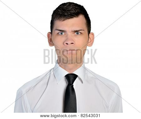 Isolated business man doubt face