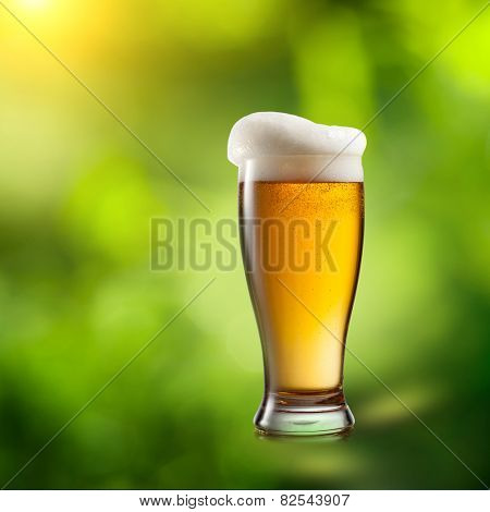 Beer in glass on natural green background
