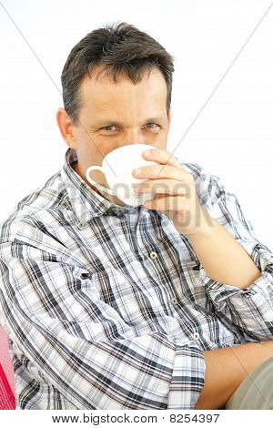 Man Enjoy Coffee