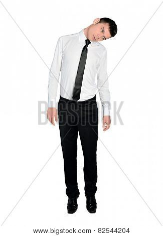 Isolated business man hung position