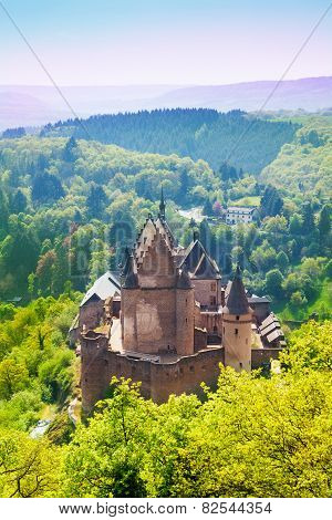 View of beautiful Vianden castle, Luxembourg