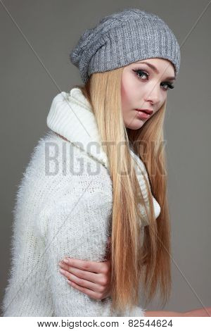 Portrait of sexual beautiful whiteheaded girl in a sportwear, is in fashion style
