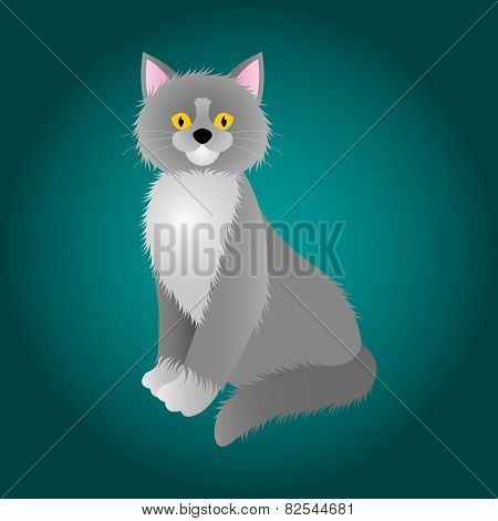 Cartoon Of Hairy Gray Cat With Yellow Eyes On The Sea Green Background
