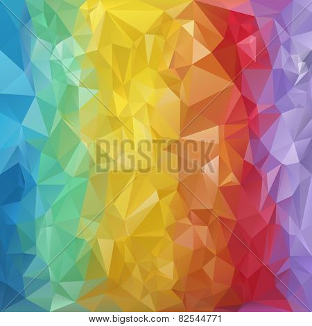 Vector Polygonal Background Triangular Design In Rainbow Spec