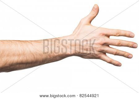 Male hand says hello, isolated on white
