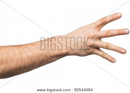 Counting gesture, male hand showing four fingers, isolated on white background