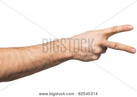 Counting gesture, male hand showing two fingers, isolated on white background