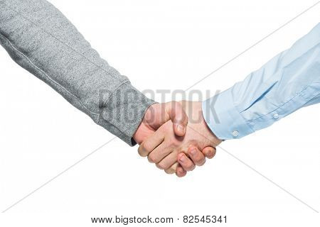 Shaking hands of two men, isolated on white
