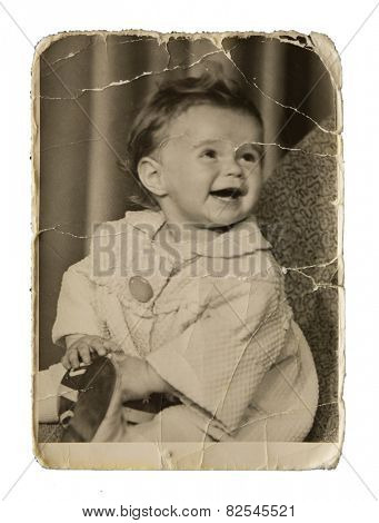 Very old authentic picture cute little girl on a white background