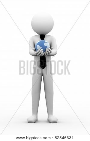 3D Businessman Holding Globe Illustration