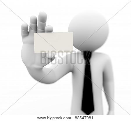 3D Business Person Showing Blank Card