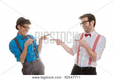 geek business men pointing