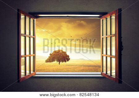 Looking out an open window to a sunny spring countryside landscape