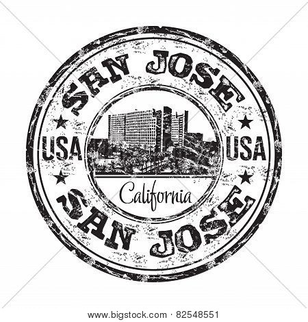 San Jose grunge rubber stamp