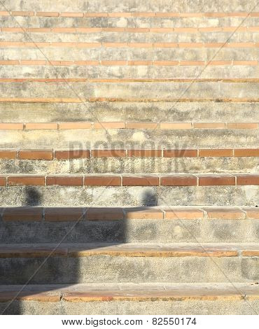 Terracotta and stone staircase