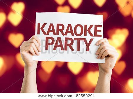 Karaoke Party card with heart bokeh background