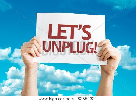 Let's Unplug! card with sky background