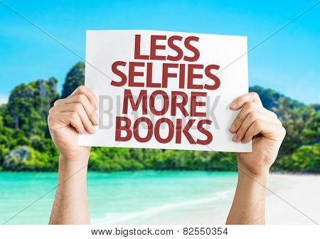 Less Selfie More Books card with beach background