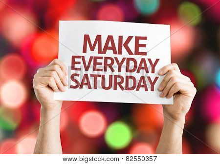 Make Everyday Saturday card with colorful background with defocused lights