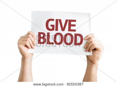 Give Blood card isolated on white background