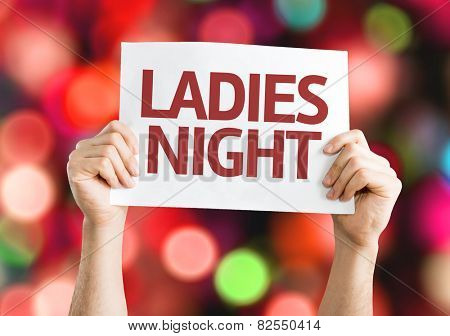 Ladies Night card with colorful background with defocused lights