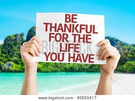 Be Thankful for the Life You Have card with beach background