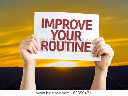 Improve Your Routine card with sunset background