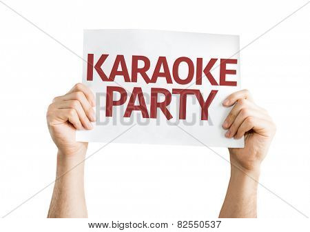 Karaoke Party card isolated on white background