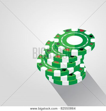 Casino Chips Pile Background, Vector Illustration