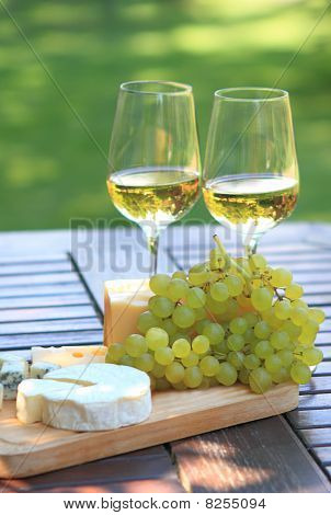 Cheese, Grapes And White Wine