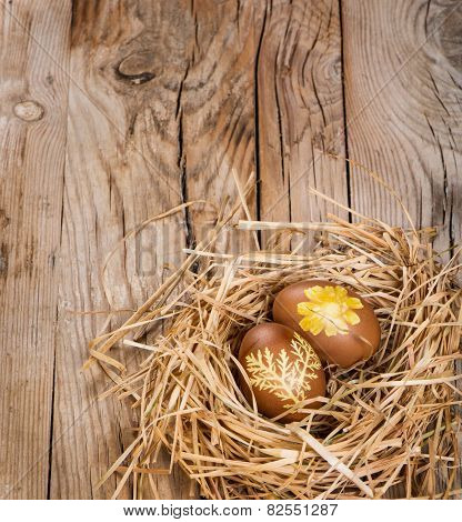 Easter Eggs With Pattern In A Nest