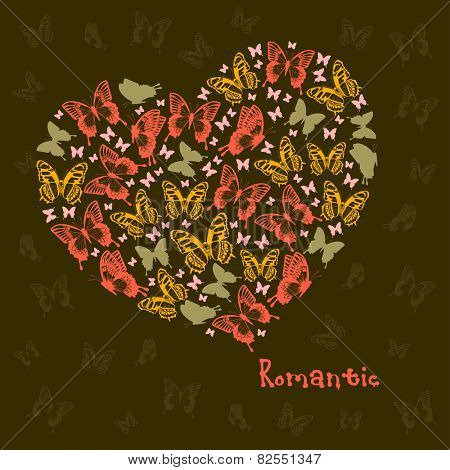 Vector Heart of butterflies. Beautiful design element for Valentines day.