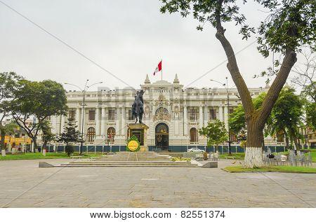 LIMA, PERU, MAY 24, 2014: Congress Palace of the Republic of Peru. The statue shows the libertador Simon Bolivar on his horse.
