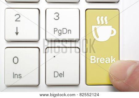Pressing break and coffee key on keyboard