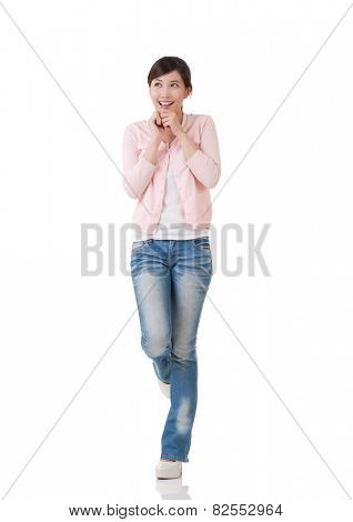 Exciting Asian woman feel free and surprised , full length portrait with reflection in studio white background.