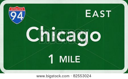 Chicago USA Interstate Highway Sign