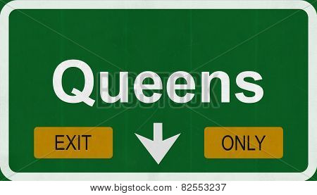 Queens USA Interstate Exit Only Highway Sign Illustration