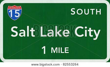 Salt Lake City USA Interstate Highway Sign