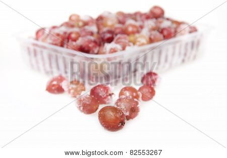 Frozen Gooseberry In A Plastic Container On A White Background.