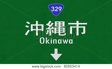 Okinawa Japan Highway Road Sign