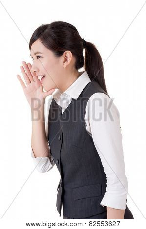 Business woman yelling, closeup portrait on white background.