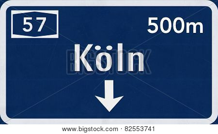 Koln Germany Highway Road Sign