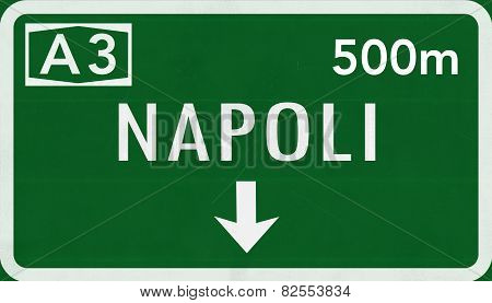Napoli Naples Italy Highway Road Sign