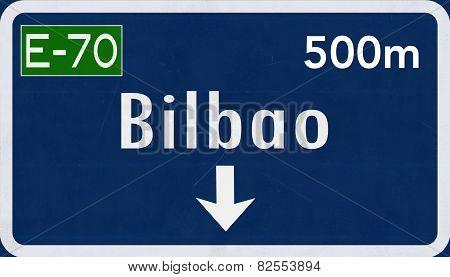 Bilbao Spain Highway Road Sign