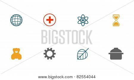 Flat Thin Colorful Icons Set, Vector Illustration