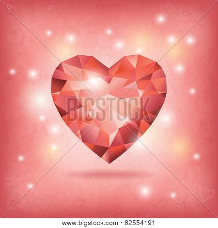 Geeting Card With Diamond Heart And Lights.
