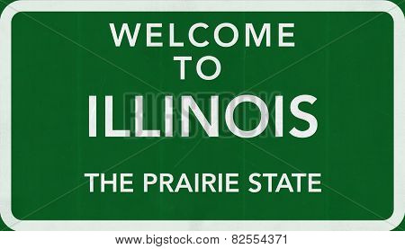 Illinois USA Welcome to Highway Road Sign