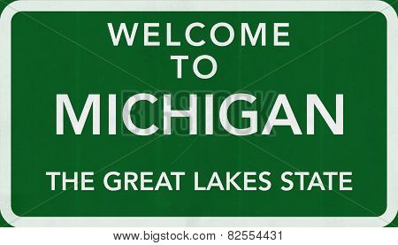 Michigan USA Welcome to Highway Road Sign