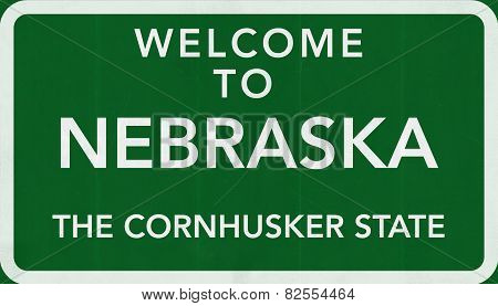 Nebraska USA Welcome to Highway Road Sign