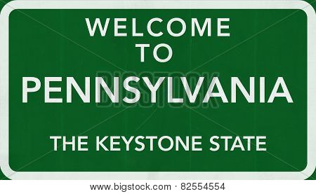 Pennsylvania USA Welcome to Highway Road Sign